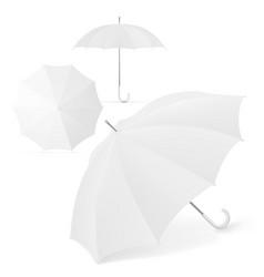 realistic blank white umbrella set for branding vector image