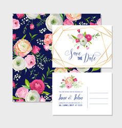 save the date card set with blossom pink flowers vector image