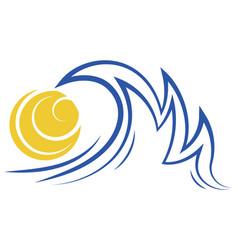 sea wave and sun stylized sea vector image