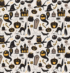 Seamless pattern Of Vintage Happy Halloween flat vector