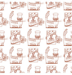 Seamless pattern with cat and tear off calendar vector