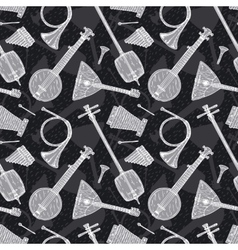 Seamless Pattern with Folk Musical Instruments vector image