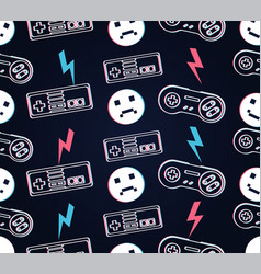 seamless pattern with video games and emoticons vector image