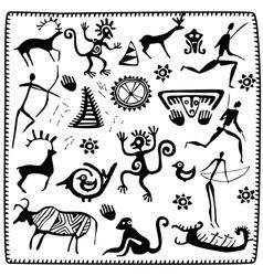 Set elements African petroglyph art vector image