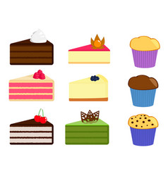 Set of cake slices and muffins vector