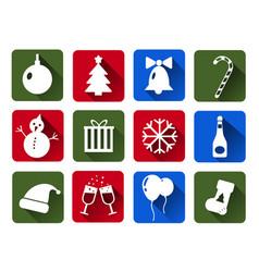 set of christmas icons white flat with vector image