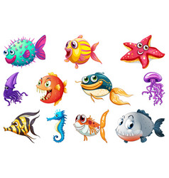 set sea creature vector image