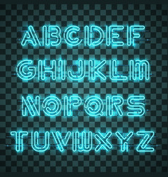 shining and glowing blue neon alphabet and digits vector image
