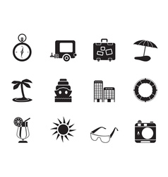Silhouette Travel and Trip Icons vector