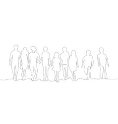 silhouettes group people in a row vector image