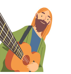 Smiling bearded man with guitar looking at camera vector