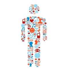 Social media icons man vector image