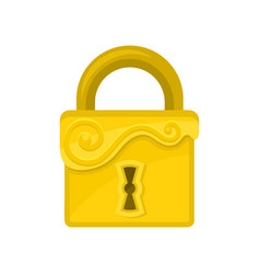 Square-shaped lock with ornamental engraving flat vector