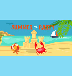 summer party lettering flat banner vector image