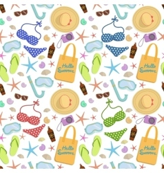 Summer vacation seamless pattern on white vector image