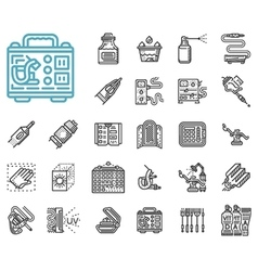 Tattoo items line icons set vector image