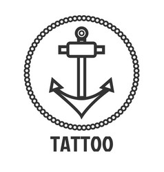 Tattoo master studio salon marine anchor vector