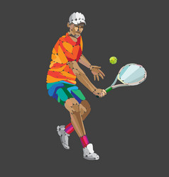 tennis player abstract geometric vector image