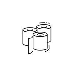 Three toilet paper rolls icon vector