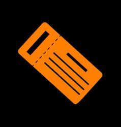ticket simple sign orange icon on black vector image