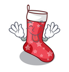 Tongue out cute christmas socks isolated on mascot vector