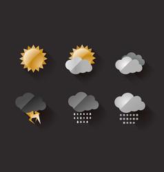 weather icons metal look on dark background vector image