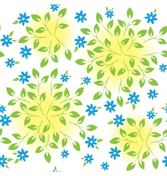 white seamless texture with green plants vector image
