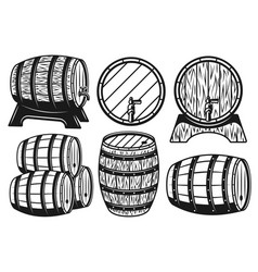 wooden barrels different variants objects vector image