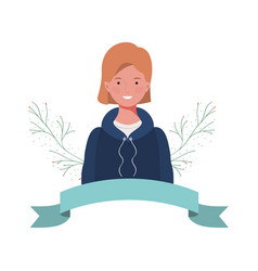 Young woman with branches and leaves background vector