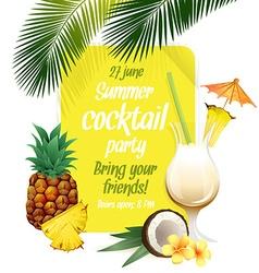 Beach tropical cocktail pina colada with garnish vector image vector image