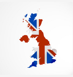 great britain flag in form of map united kingdom vector image