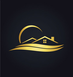 home beach resort gold icon logo vector image vector image