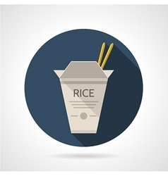 Rice box flat round icon vector image vector image