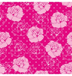 Seamless floral pattern with pink roses and dots vector image vector image