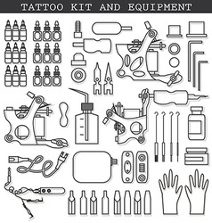 Tattoo kit and icons vector image