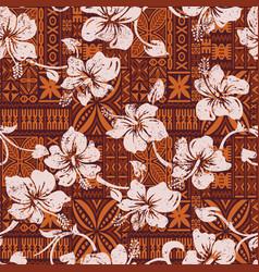 tribal vintage hawaiian hibiscus flowers wallpaper vector image