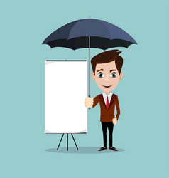 young men with a poster and umbrella vector image vector image