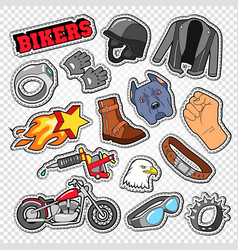 biker doodle with motorcycle sunglasses vector image