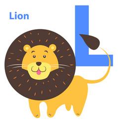 children s alphabet icon cartoon lion letter l vector image vector image