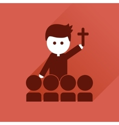 Flat icon with long shadow Catholic priest vector image vector image