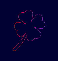 leaf clover sign line icon with gradient vector image