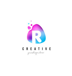r letter dots logo design with oval shape vector image vector image