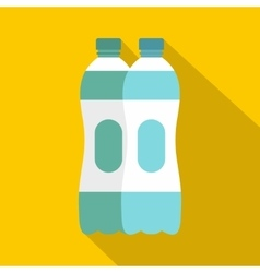 Two plastic bottles of water icon flat style vector image vector image
