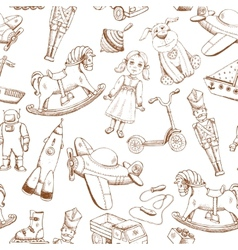 vintage hand drawn toys pattern vector image
