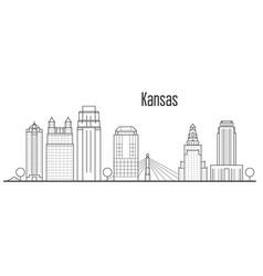 kansas city skyline - downtown cityscape vector image
