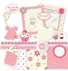 Scrapbook set for baby girl vector image