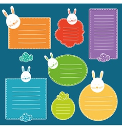 Set of tags with hand drawn easter bunny head and vector image vector image