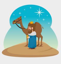 three magic kings gaspar cartoon vector image
