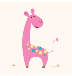 Cute pink Giraffe character for baby room vector image vector image