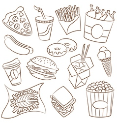 Fast food icon set vector image